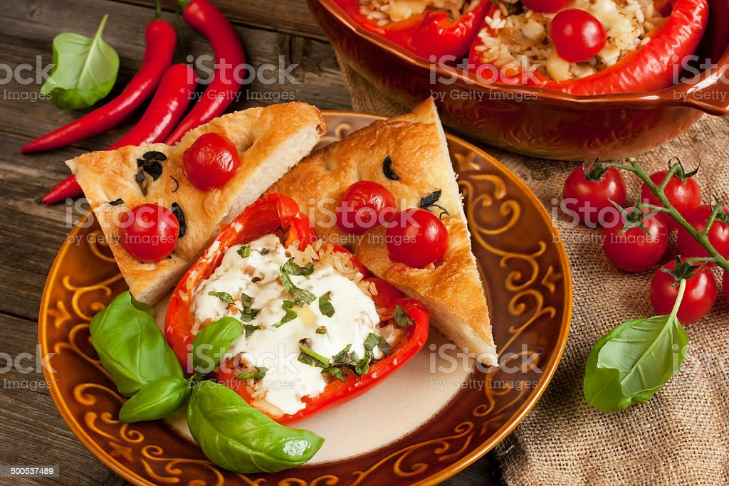 Stuffed paprika with rice and vegetables stock photo