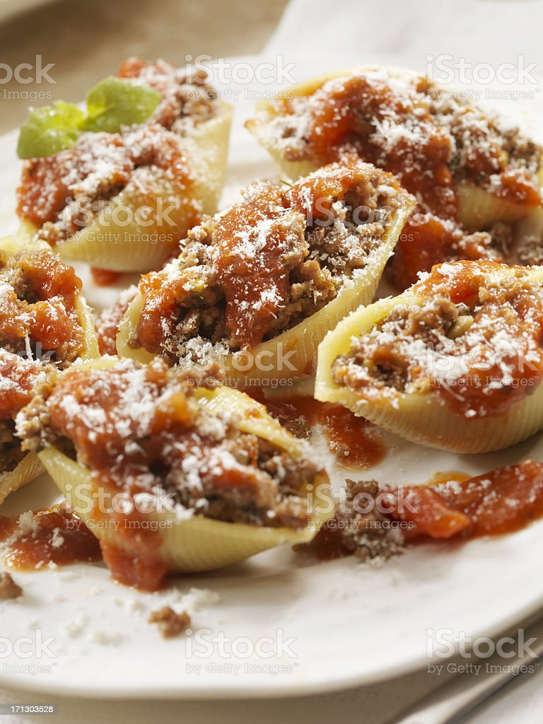 Stuffed Pasta Shells stock photo