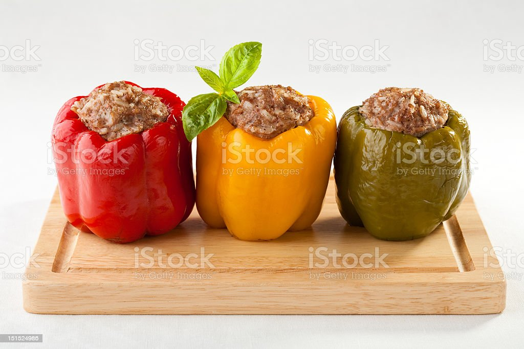 Stuffed pepper with minced-meat and rice stock photo