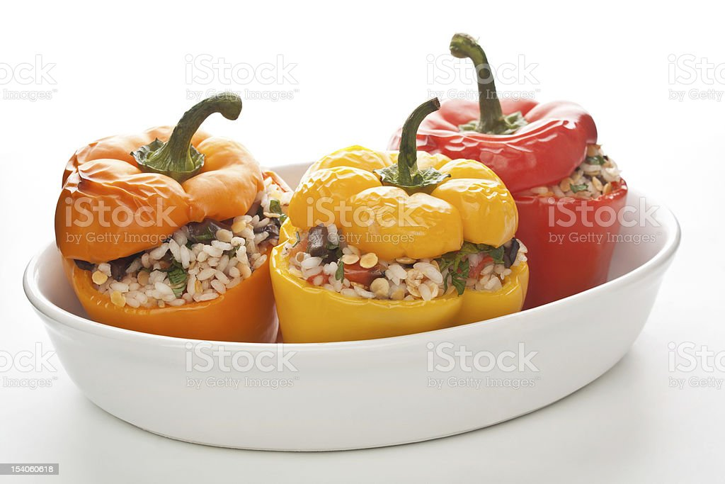 stuffed peppers in a dish royalty-free stock photo