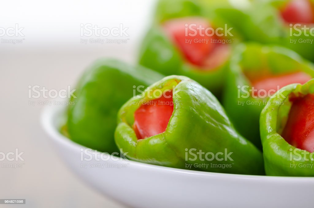 Stuffed peppers in pot ready for cooking. royalty-free stock photo