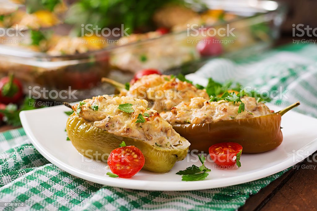 Stuffed peppers minced chicken with pepper chilli with tomato stock photo