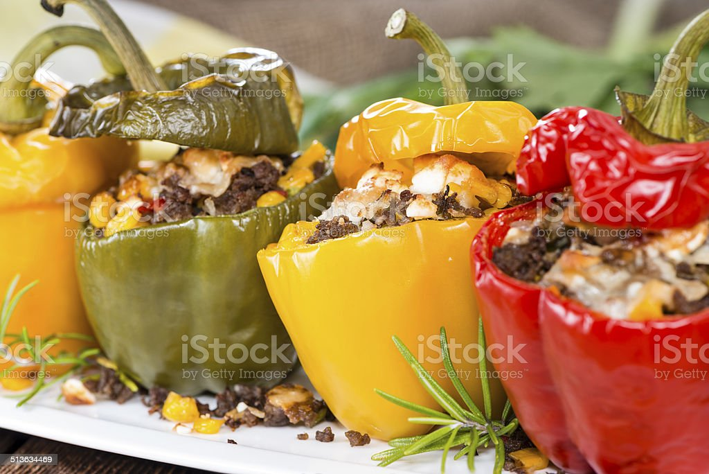 Stuffed Peppers (with Meat, Herbs and Cheese) stock photo