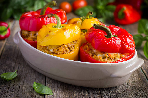 Stuffed peppers with meat, rice and vegetables stock photo