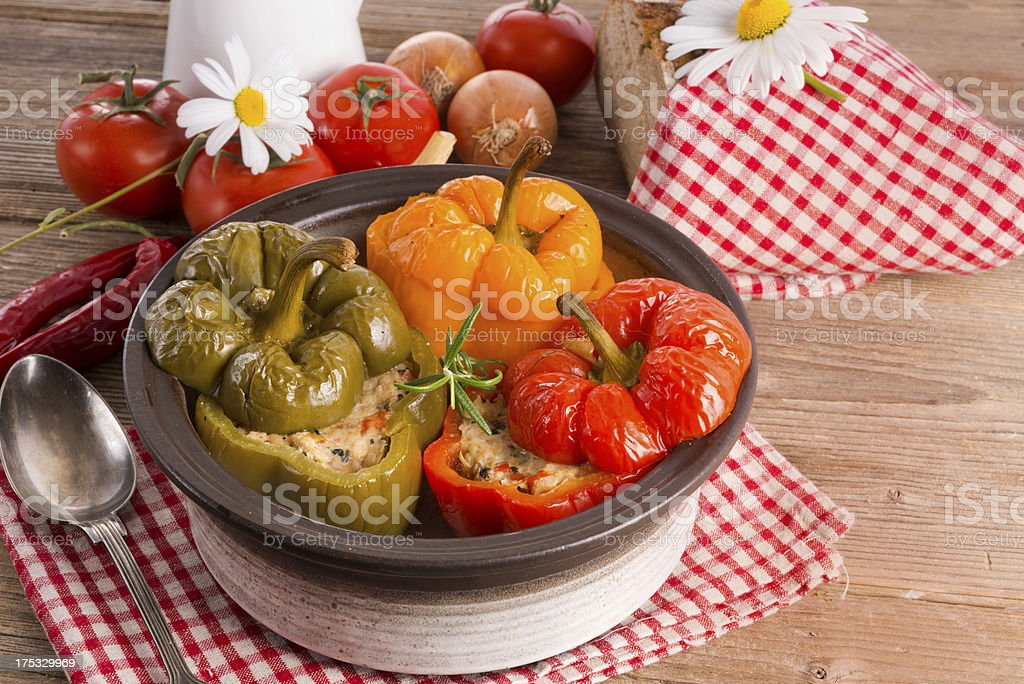stuffed peppers with rice stock photo