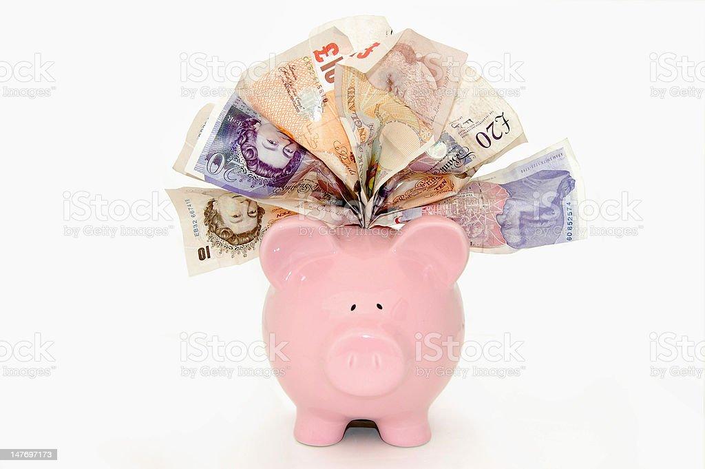 Stuffed piggybank stock photo