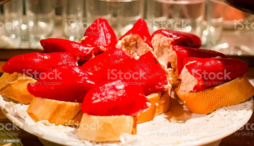Stuffed piquillo peppers stock photo