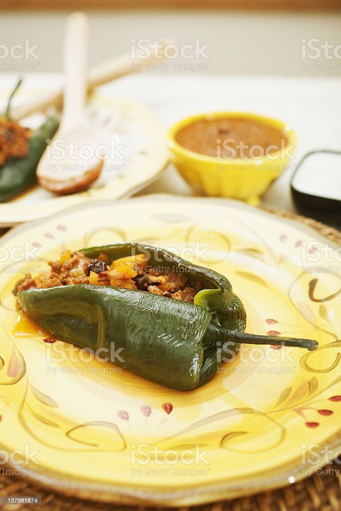 Stuffed Poblano Pepper with Two Sauces stock photo