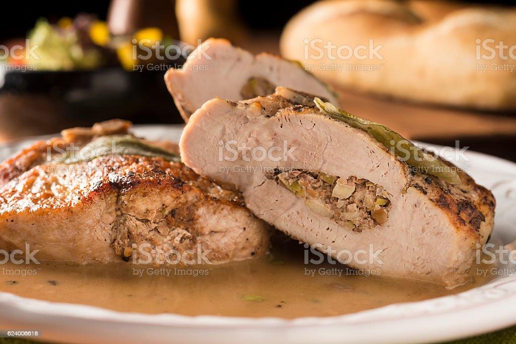 Stuffed Pork Chop stock photo