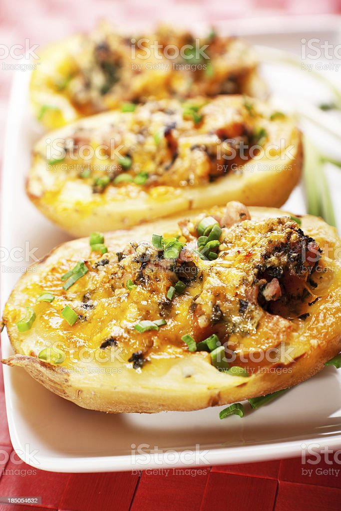 Stuffed potato with chicken and spinach royalty-free stock photo