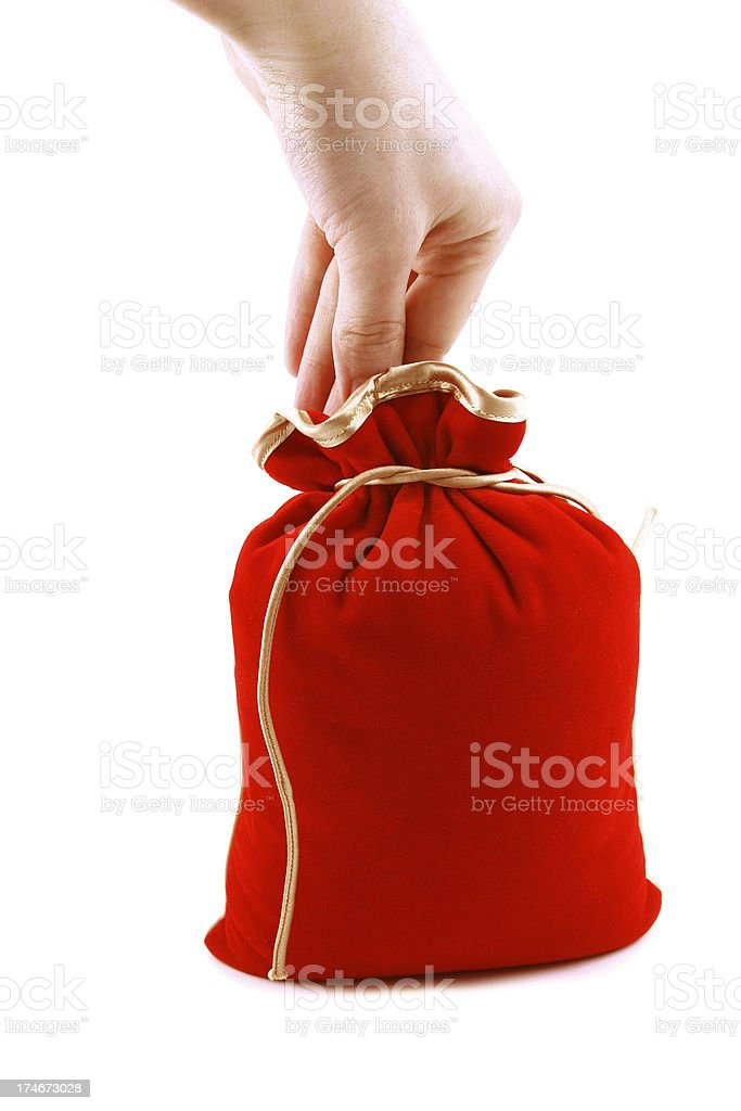 Stuffed red bag royalty-free stock photo