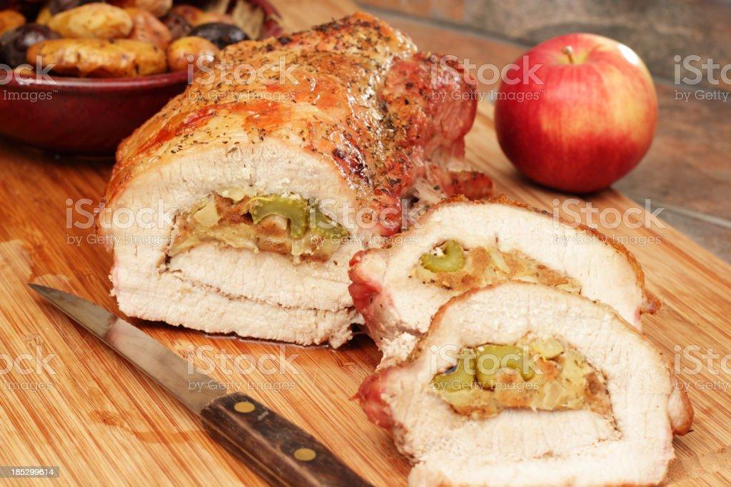 Stuffed Roasted Pork Loin royalty-free stock photo