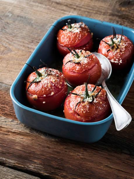 Stuffed Tomato, Tomato, cooked stock photo