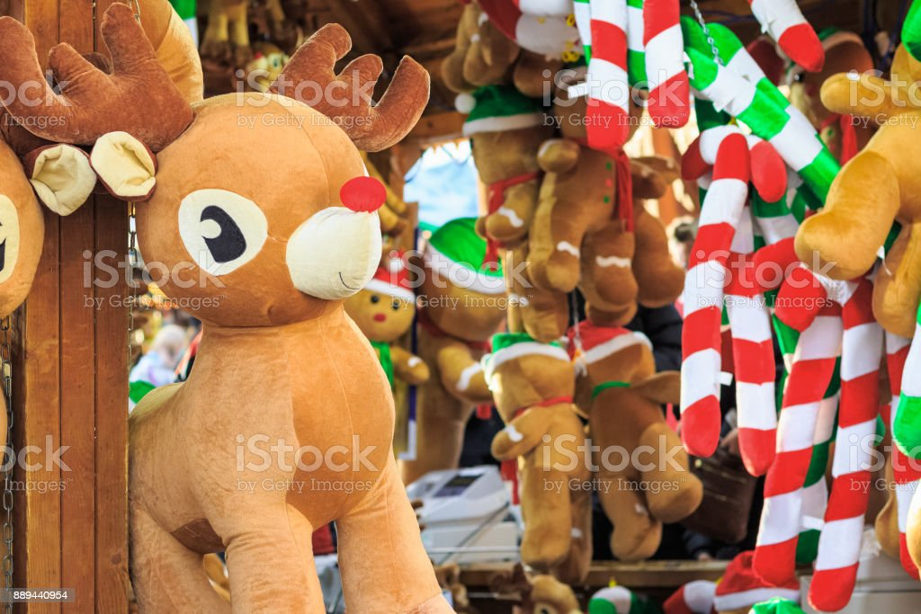 Stuffed toy reindeer on display awarded as winning prizes at...