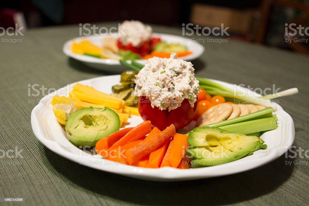 Stuffed Tuna Salad Tomato stock photo