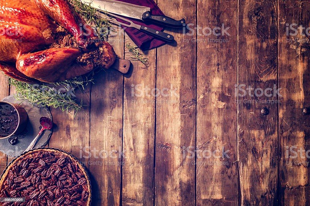 Stuffed Turkey and Pecan Pie Background stock photo