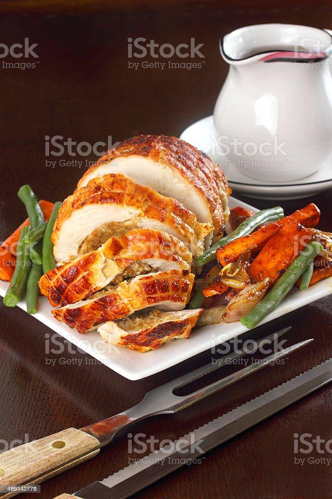 Stuffed turkey breast stock photo
