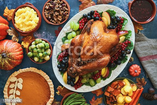 Stuffed Turkey for Thanksgiving Holidays with Vegetables and Other Ingredients