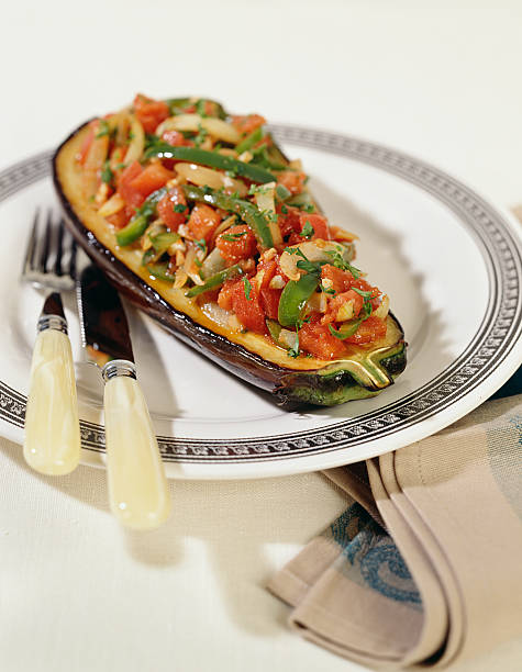 Gefüllte vegetarische Aubergine – Foto