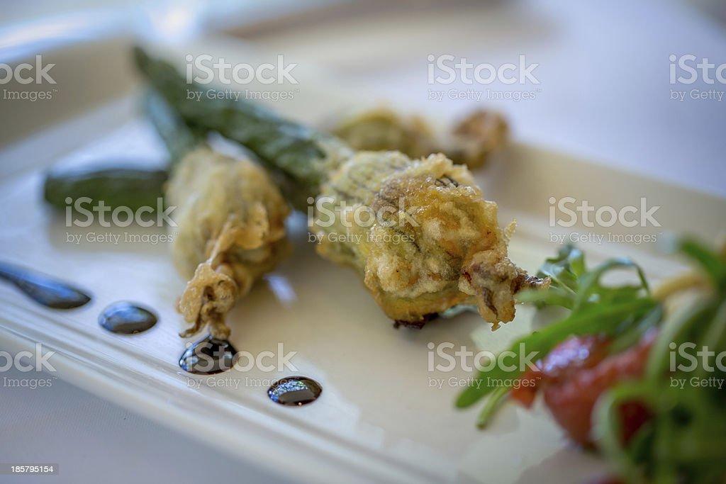 Stuffed Zucchini Flowers stock photo