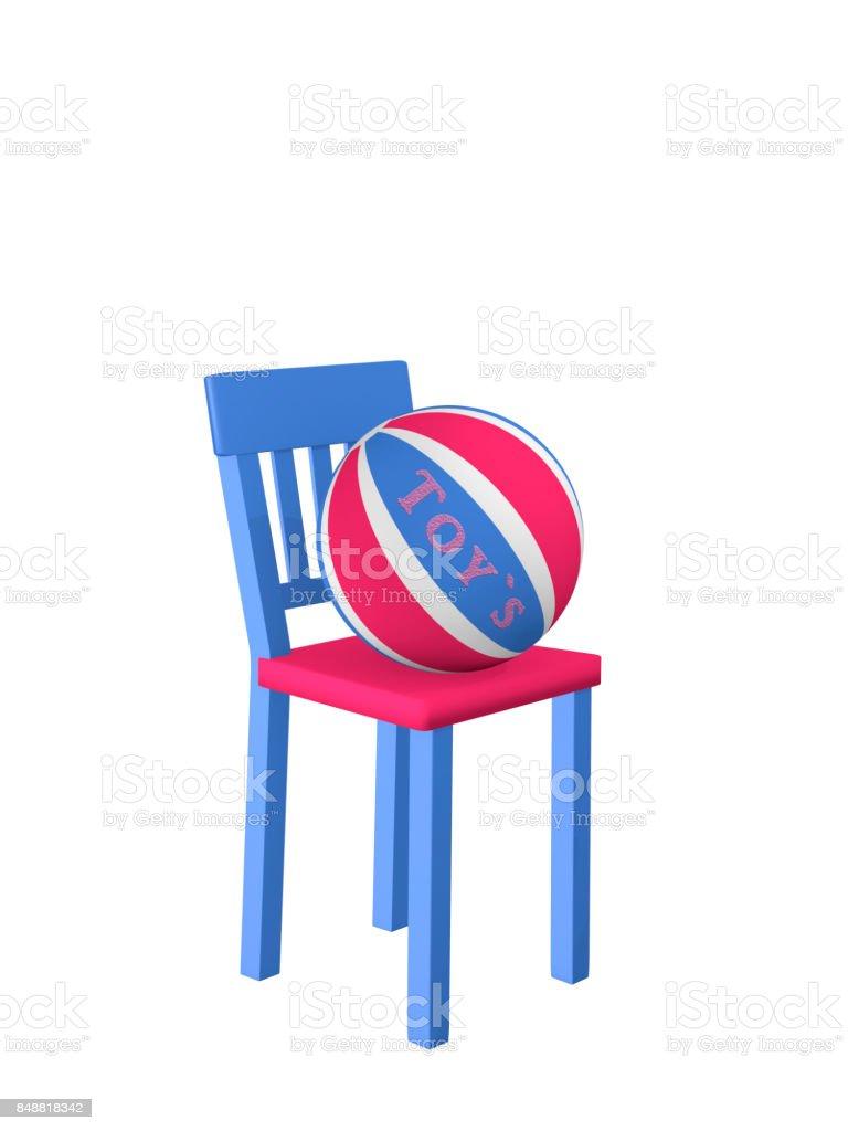 Stuhl in Blau-Rosa Auf Dem Ein Softball so – Foto