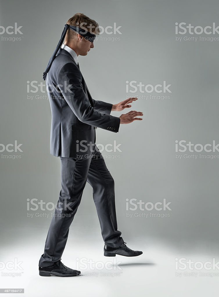 Stumbling without clear vision stock photo