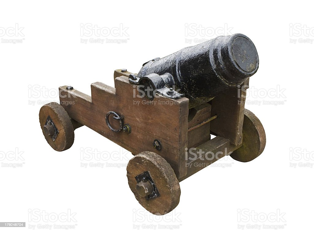 stumpy seige cannon isolated on white background royalty-free stock photo
