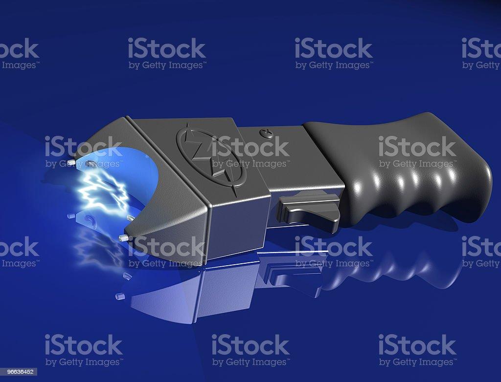 Stun gun on shiny surface stock photo