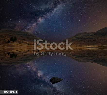 Beautiful epic digital composite landscape of Milky Way over Blea Tarn in Lake District