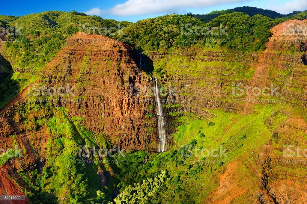Stunning aerial view into Waimea Canyon, Kauai stock photo