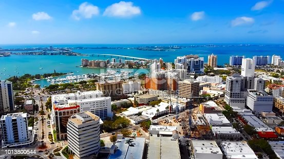 istock Stunning aerial view of downtown Sarasota, Florida and the surrounding keys 1013800544