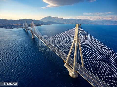 Stunning aerial view of famous Rion-Antirrio bridge near Patras city in Greece.