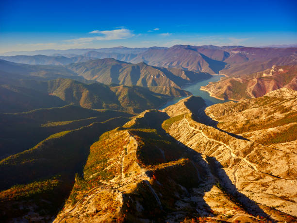 Stunning aerial view of Kozjak lake-Macedonia. stock photo
