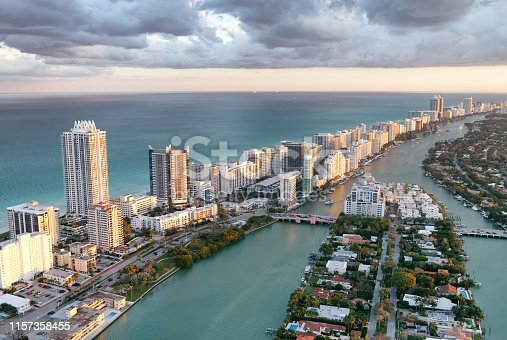 Stunning Aerial view of South Beach. Ocean, Park and skyscrapers. Amazing skyline. Miami Beach. Florida.