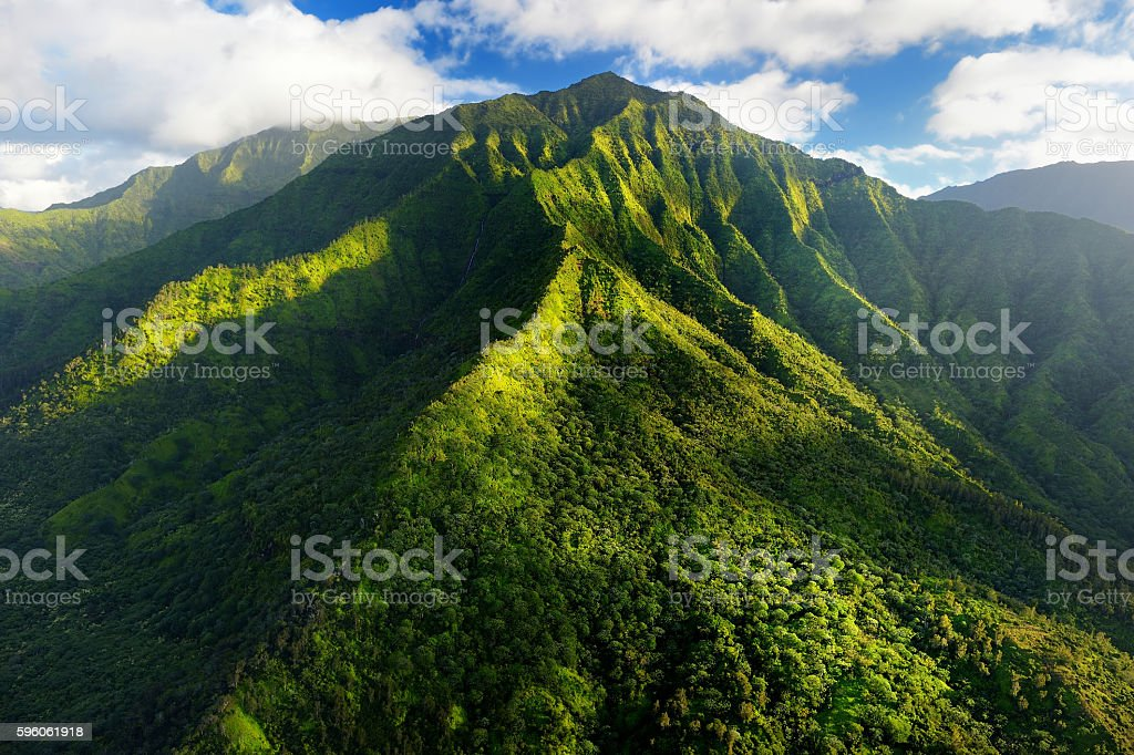 Stunning aerial view of spectacular jungles, Kauai royalty-free stock photo