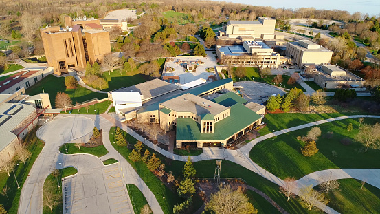 istock Stunning aerial view of the University of Wisconsin Green Bay Campus at sunrise in Springtime. 965529036