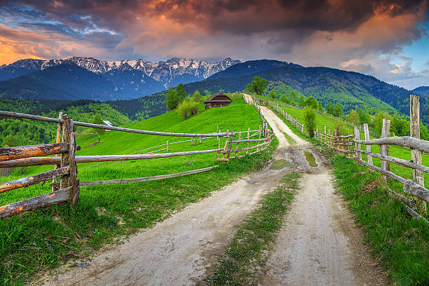 Stunning alpine rural landscape near Brasov,Transylvania,Romania,Europe stock photo