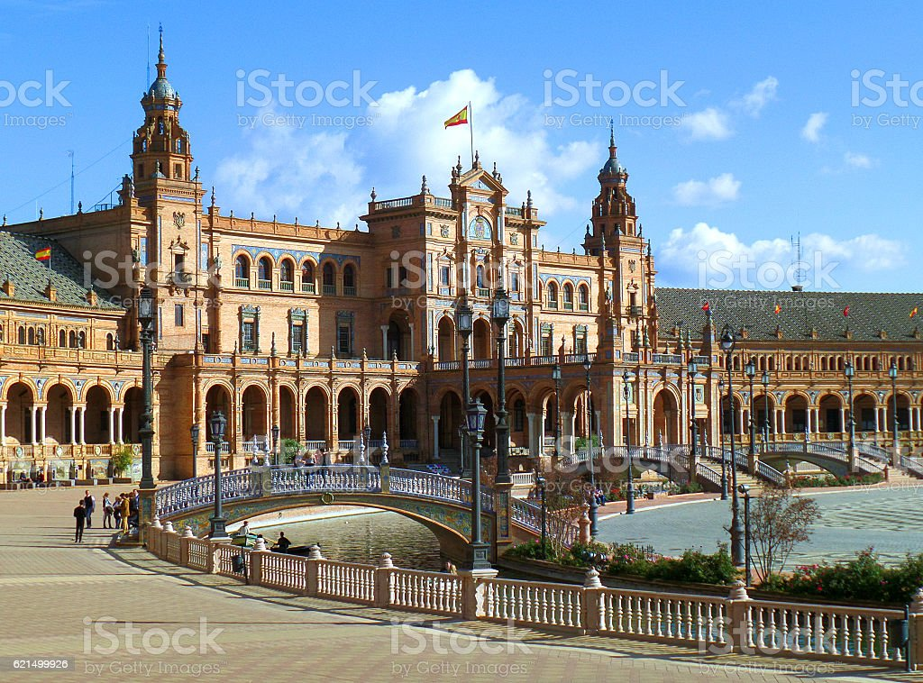 Stunning Architecture of the Famous Plaza de Espana, Seville, Spain Lizenzfreies stock-foto