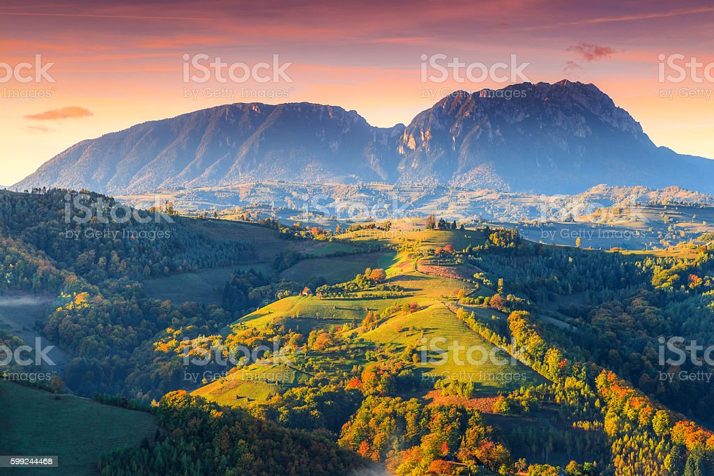 Stunning autumn landscape with colorful forest,Holbav,Transylvania,Romania,Europe stock photo