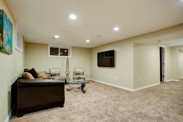 Stunning basement interior with wet bar stock photo