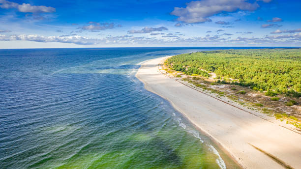Stunning beach on peninsula Hel, Baltic Sea in Poland stock photo