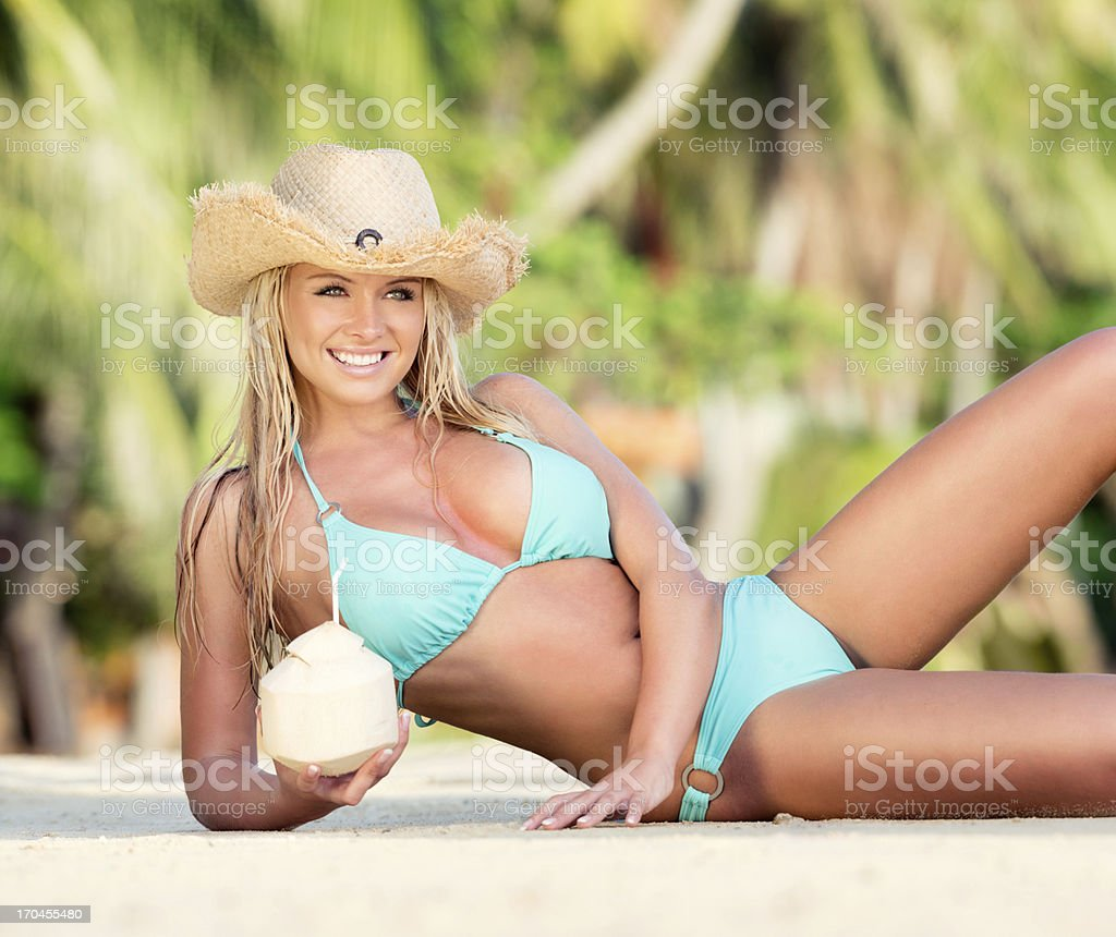 Stunning Beauty with Coconut Drink royalty-free stock photo