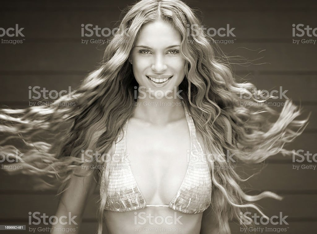 Stunning Blond Beauty, Long Natural Hair stock photo