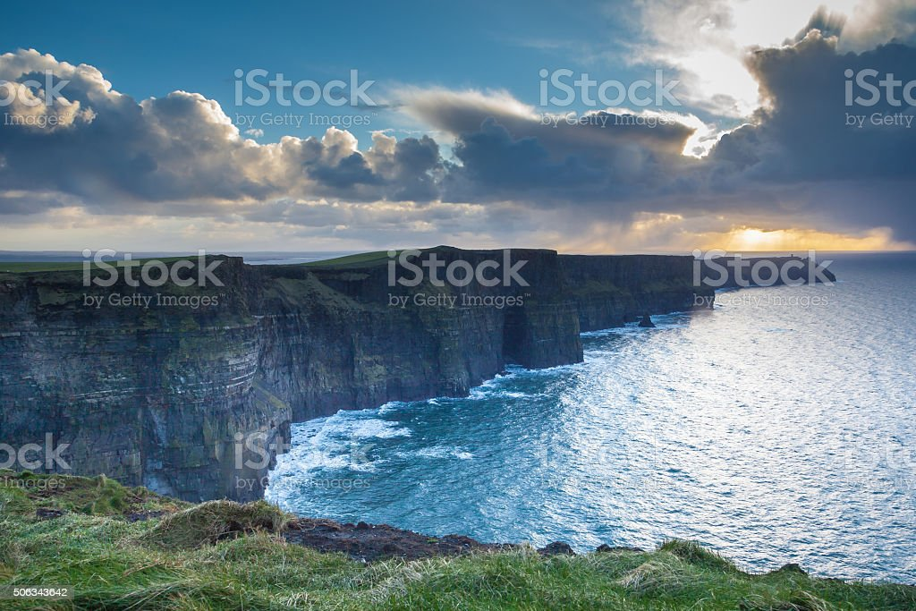 Stunning Cliffs Of Moher At Sunset stock photo