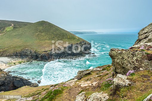 Stunning coastal scenery at Chapel Porth on the St Agnes Heritage coast in Cornwall, England, UK.