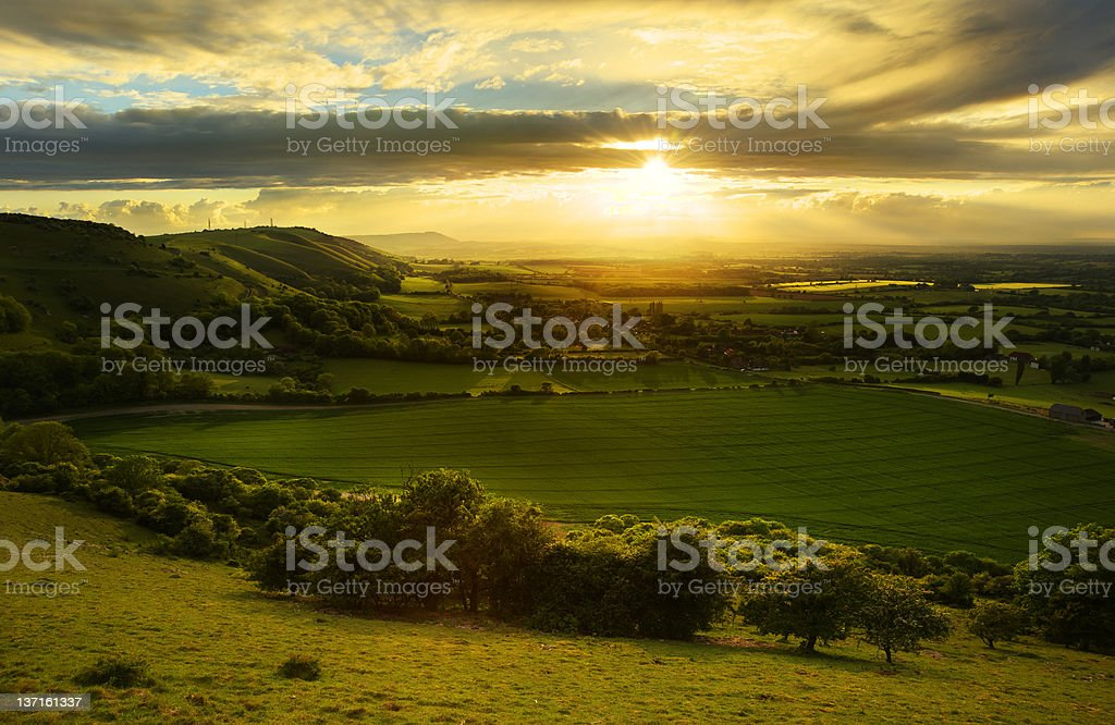 Stunning countryside landscape at sunset stock photo