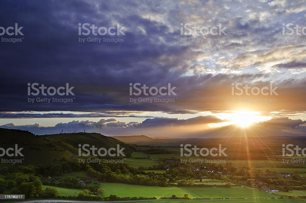 Stunning countryside landscape at sunset royalty-free stock photo