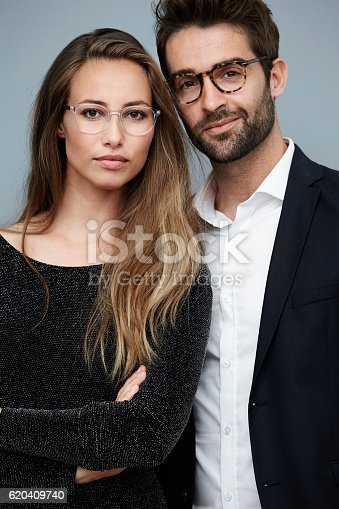 620404536istockphoto Stunning couple in spectacles, portrait 620409740