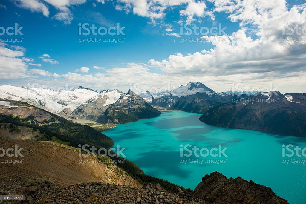 Stunning glacial Garibaldi Lake in British Columbia stock photo