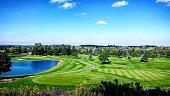 Aerial view of a golf fairway. Golf in Canada. Golf course design.